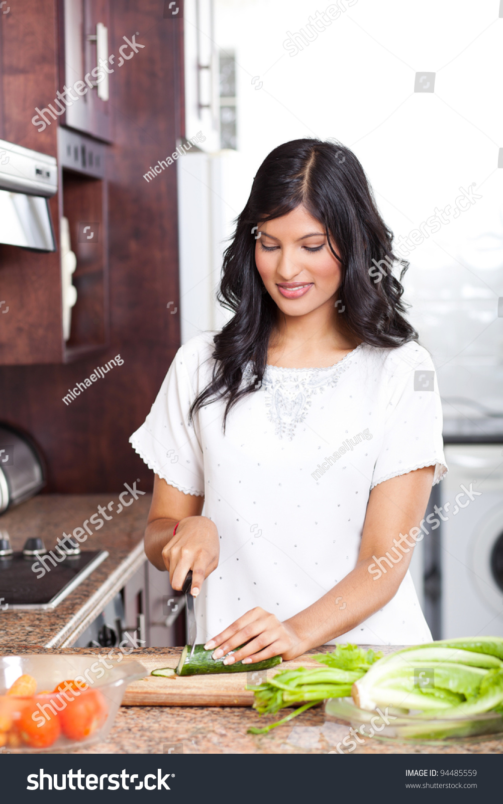 Young Indian Woman Cooking Kitchen Stock Photo (Download Now ...