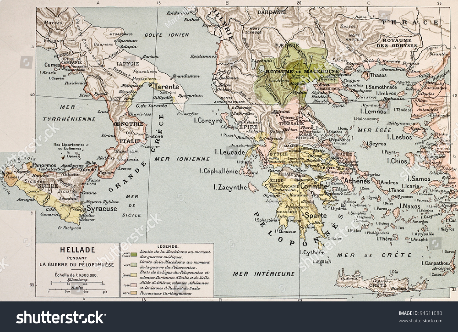 Map Aegean Ionic Region Peloponnese War Stock Photo Edit Now