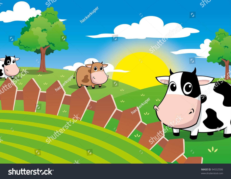 Cute Cow Farm Field Beautiful Sunlight Stock Vector (2018) 94532506 ... for Animated Farm Field  70ref