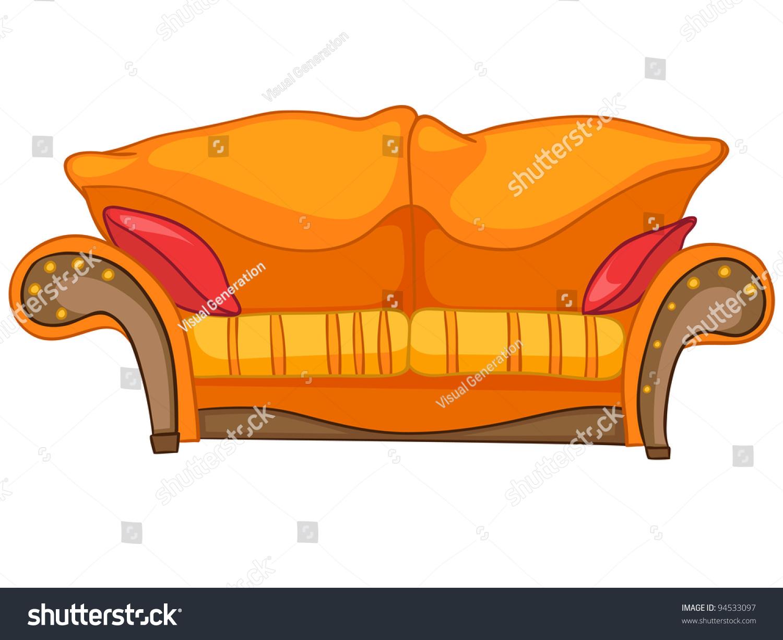 Cartoon Home Furniture Sofa Isolated On Stock Vector