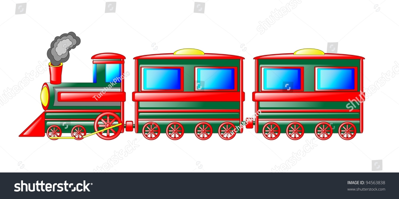 illustration colorful train isolated white background stock