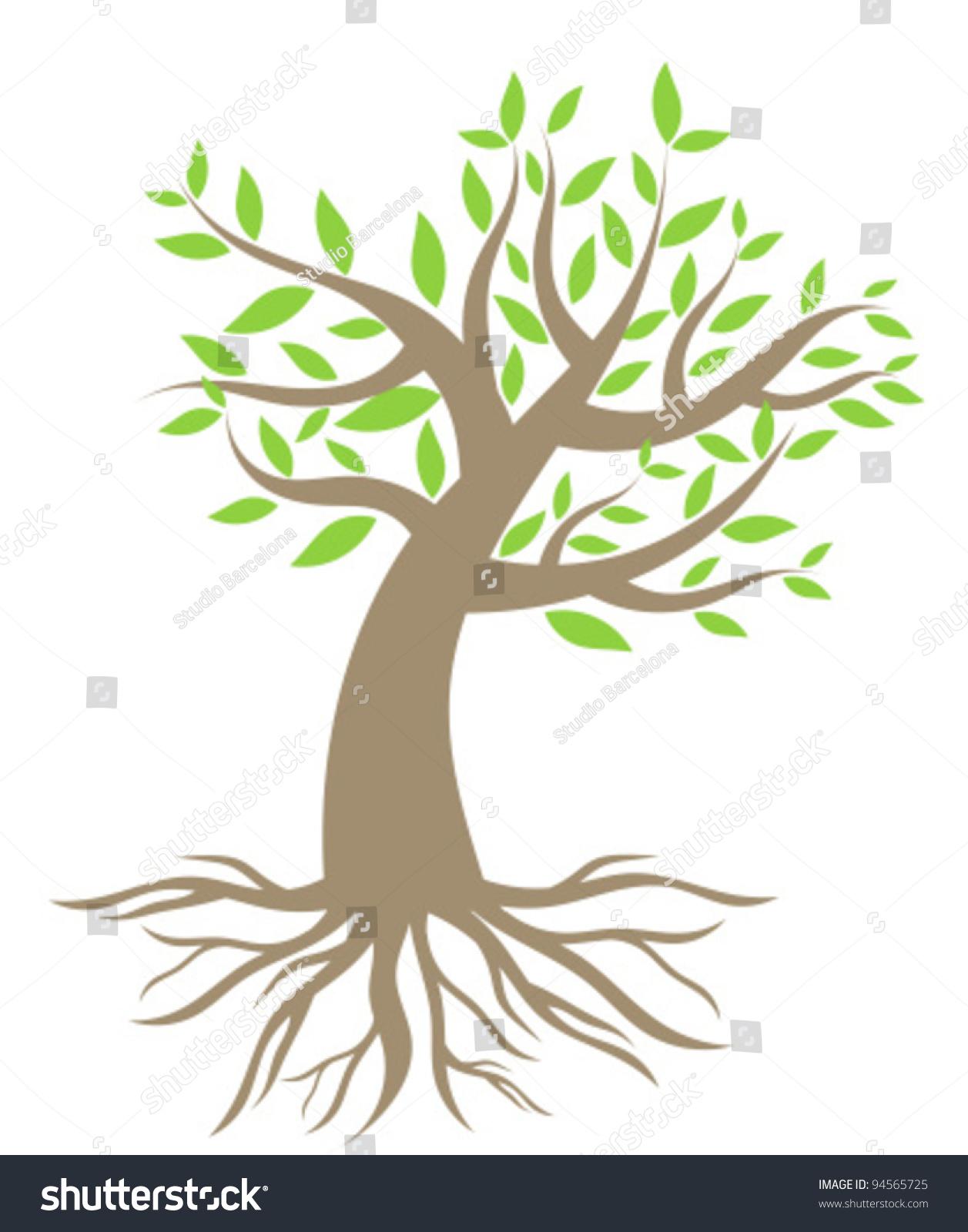 Vector Illustration Tree: Tree Roots Vector Illustration Stock Vector 94565725