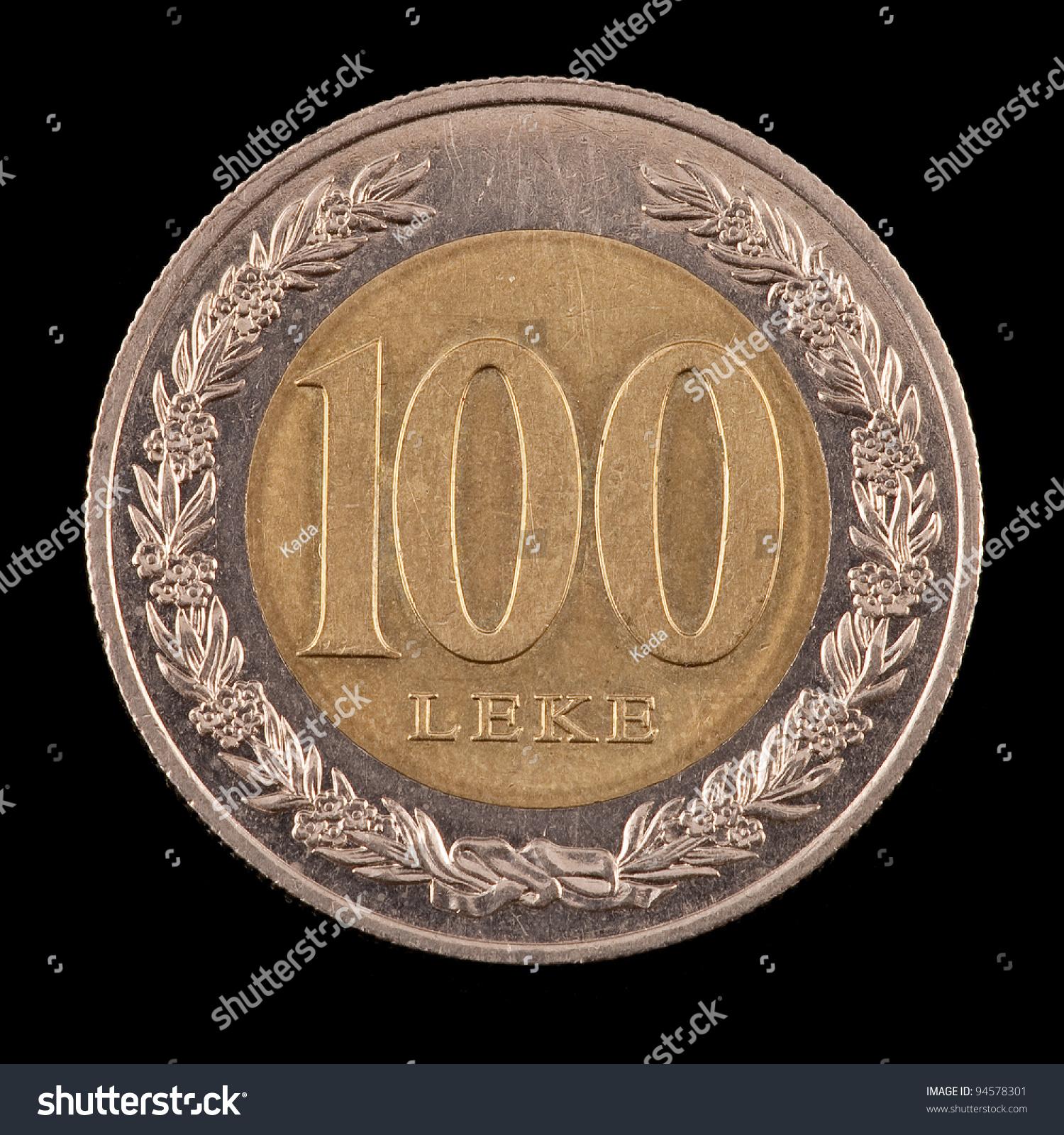Famous Albanian Landmarks Stock Photo The Albanian Coin On The Black