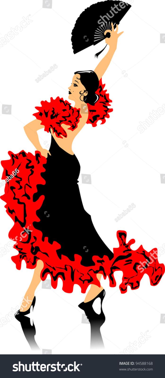 dancer black dress dancing flamenco illustration stock vector