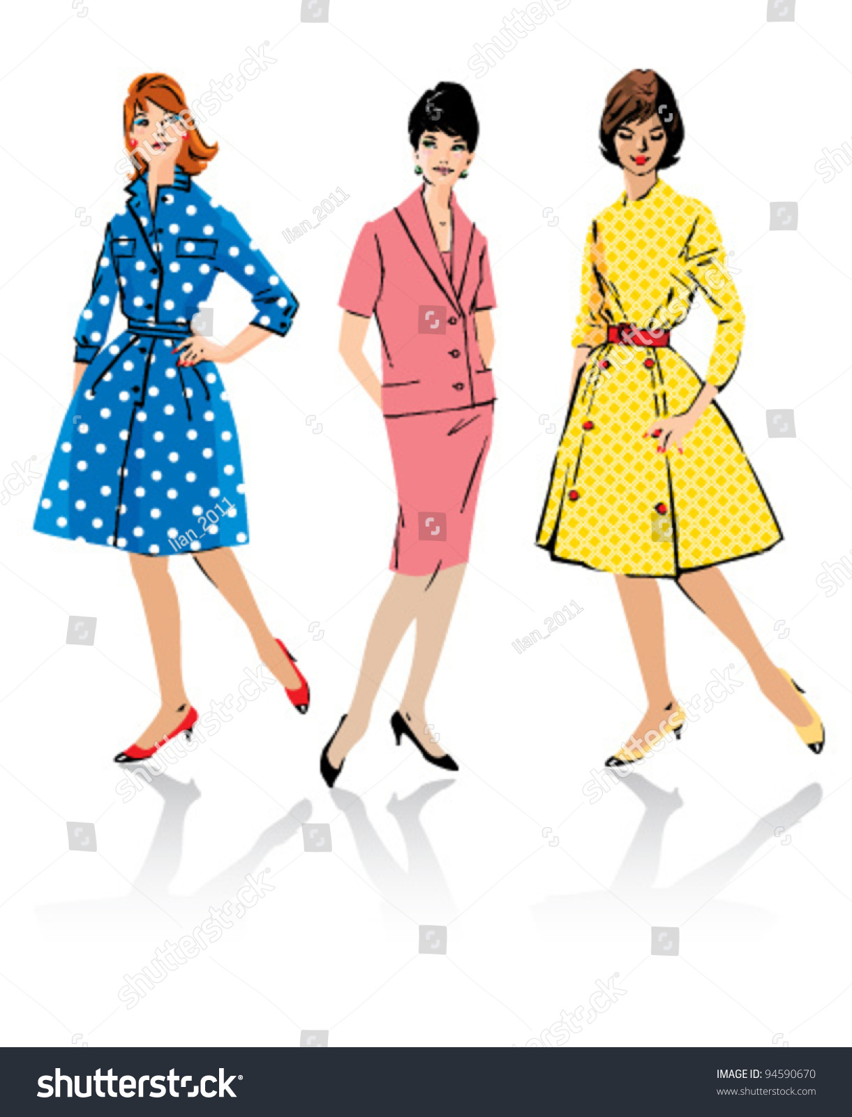 Set Of Elegant Women Retro Style Fashion Models Spring Season Stock Vector Illustration