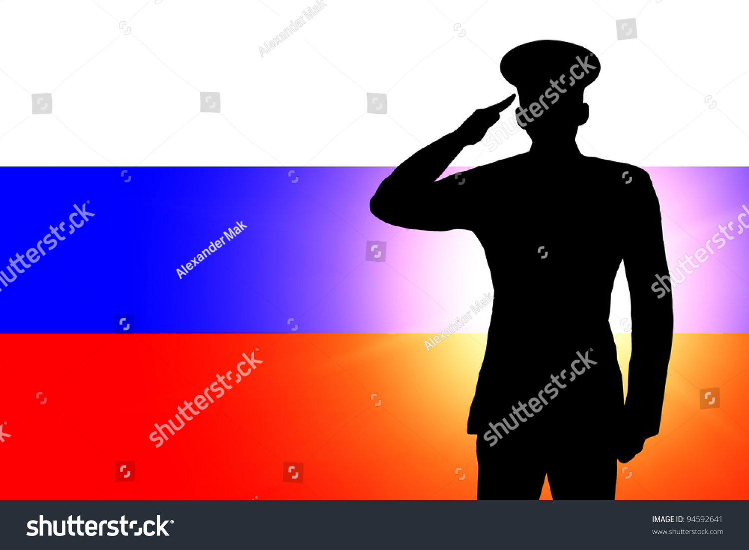russian flag silhouette soldiers military salute stock