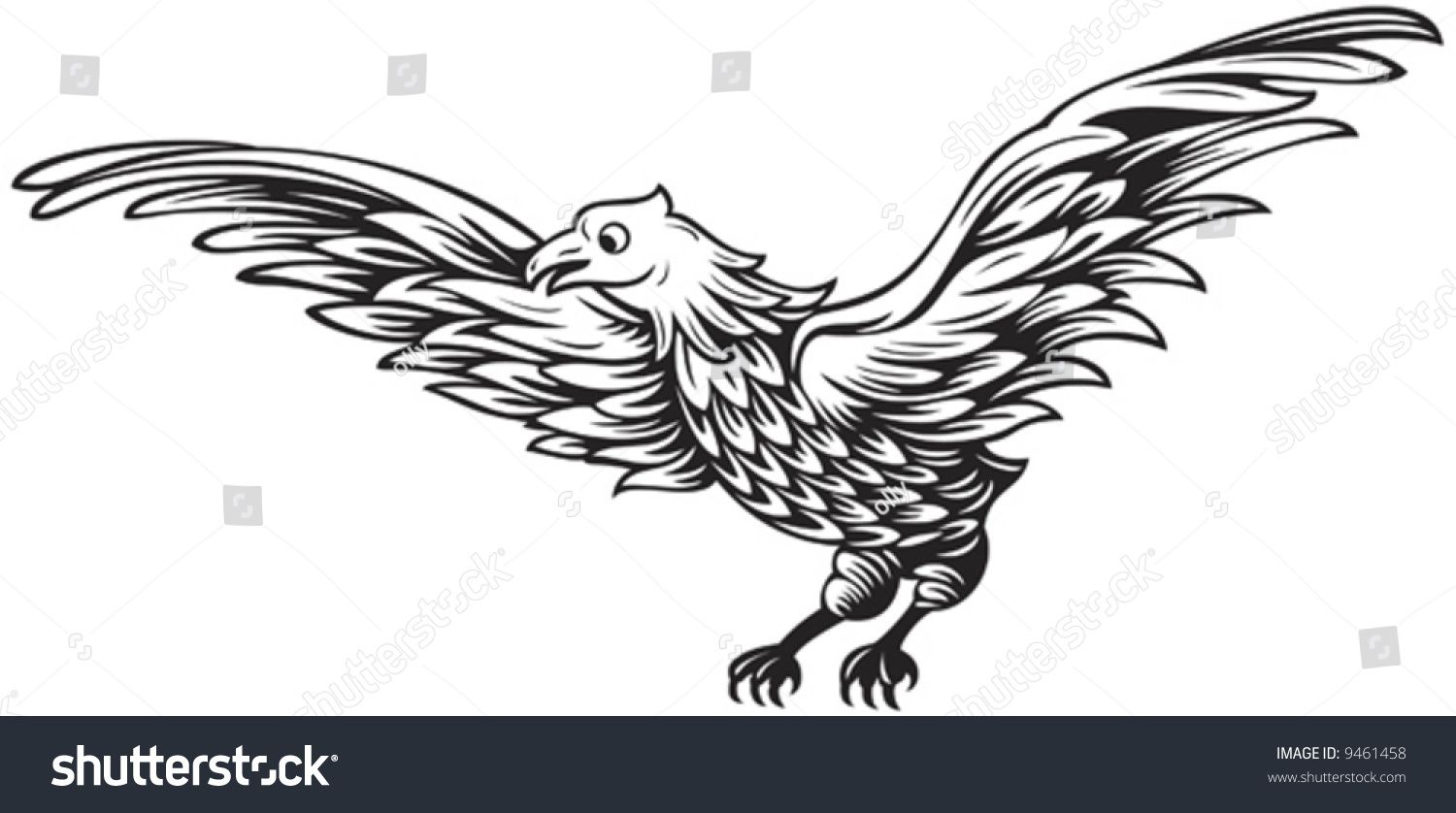 Black and white drawing of flying eagle stock photo