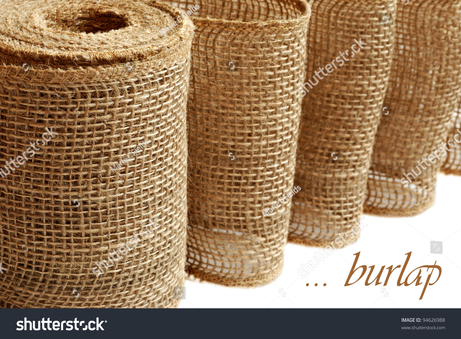 Burlap ribbon or garland used for home decor and craft for Burlap ribbon craft ideas