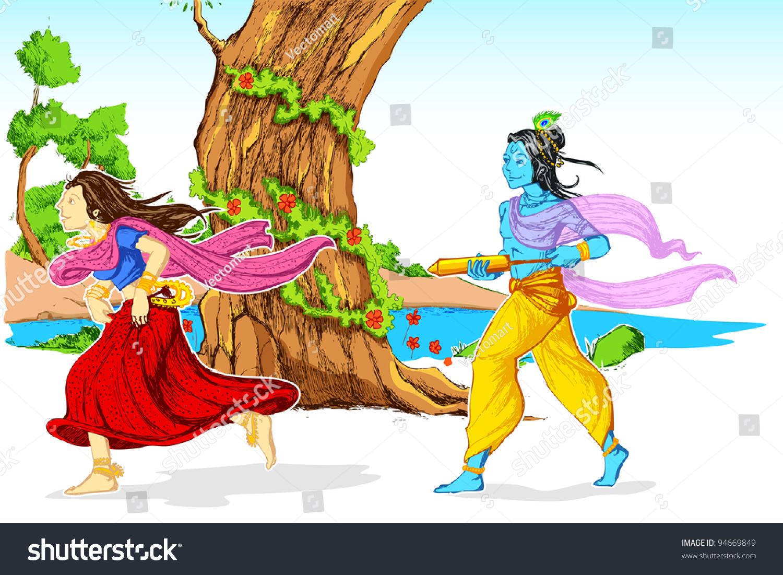Happy holi radha krishna images - Illustration Of Radha And Lord Krishna Playing Holi In Garden