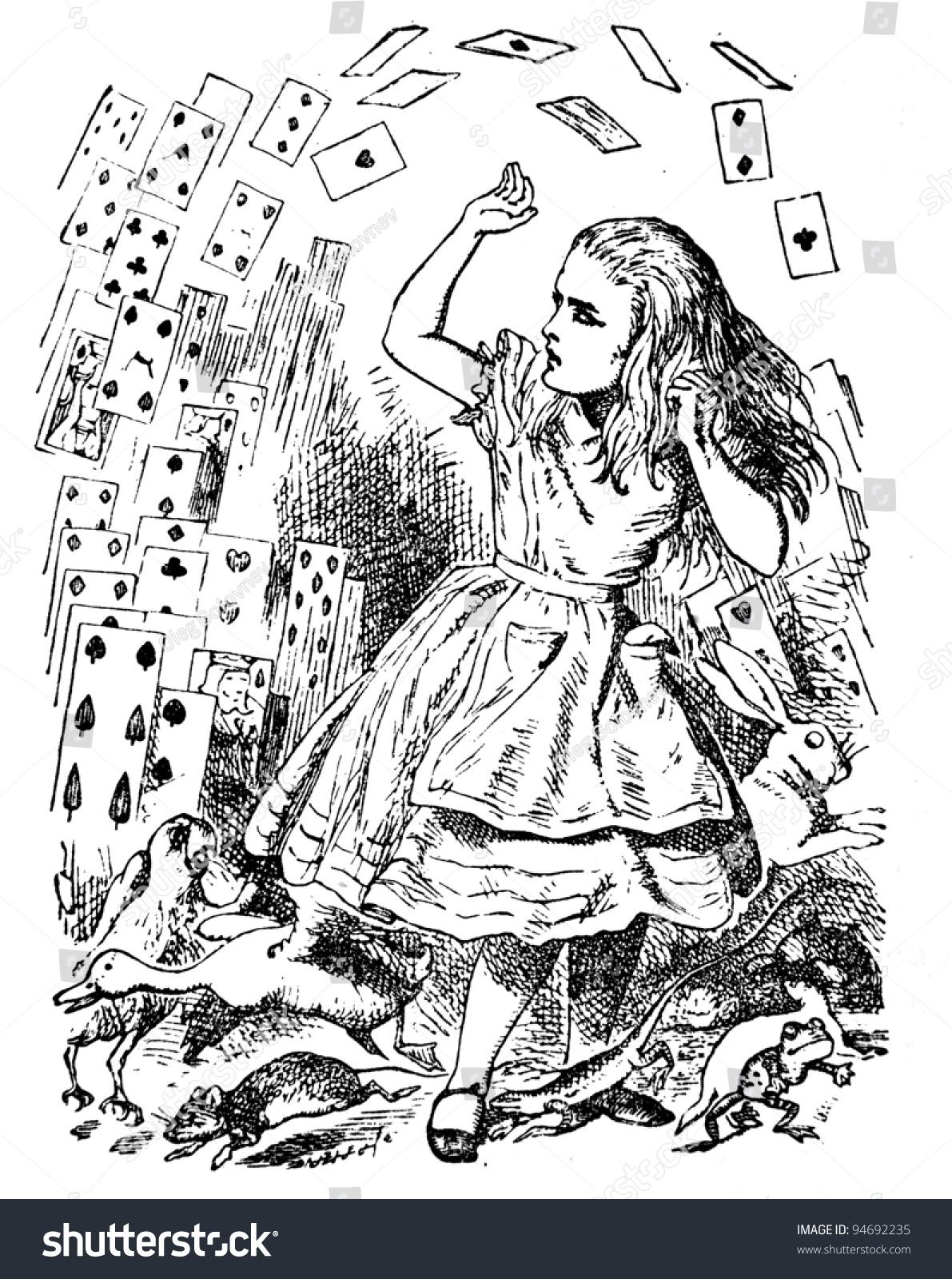 Alice Deck Cards Engraving By John Stockfoto (Jetzt bearbeiten ...