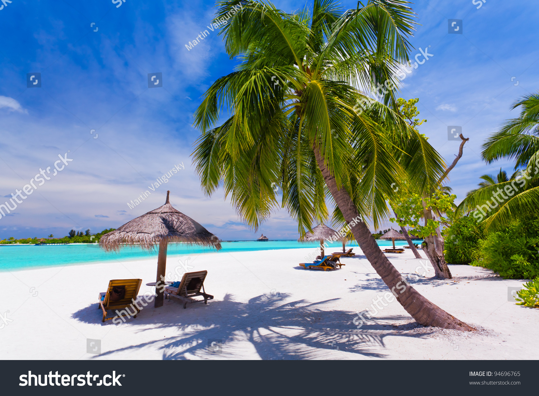 Tropical Beach Chairs Deck Chairs Under Umbr...