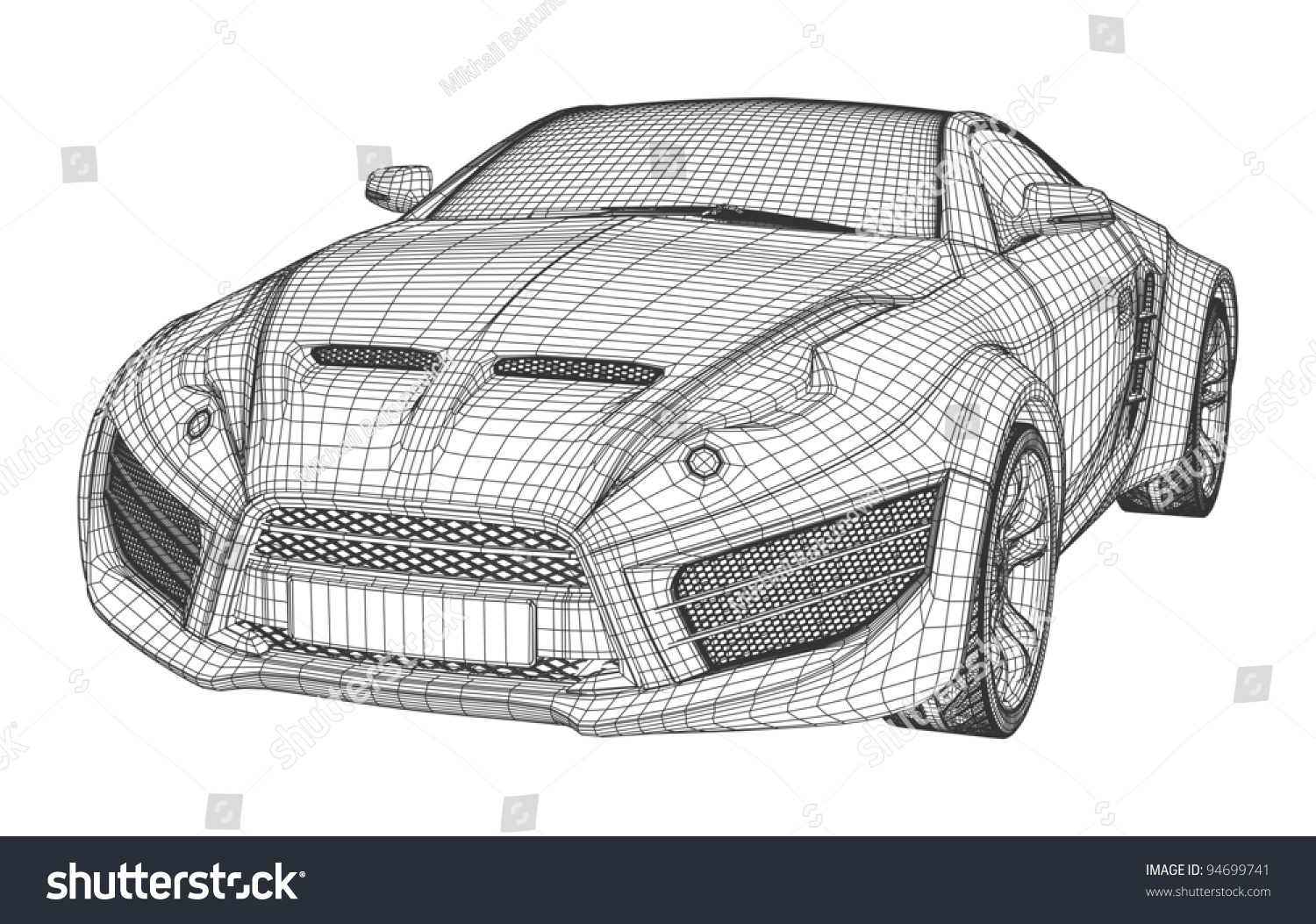 Sports Car Blueprint Non Branded Concept Stock Vector 94699741 ...