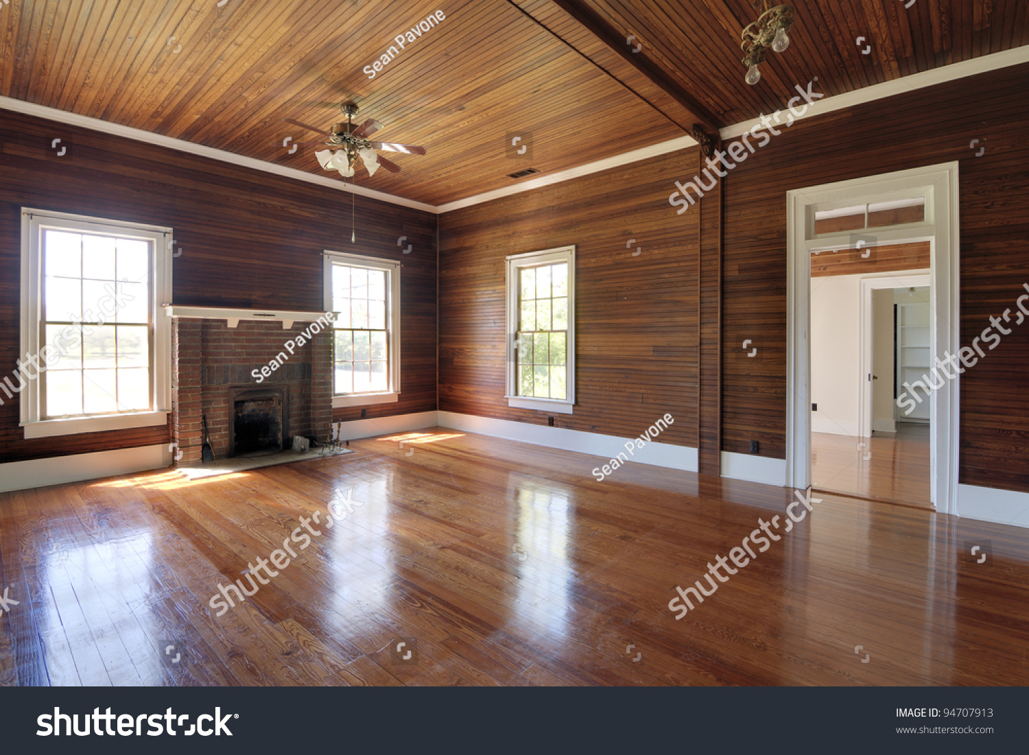 Unfurnished Living Room With Wood Paneling Part 37
