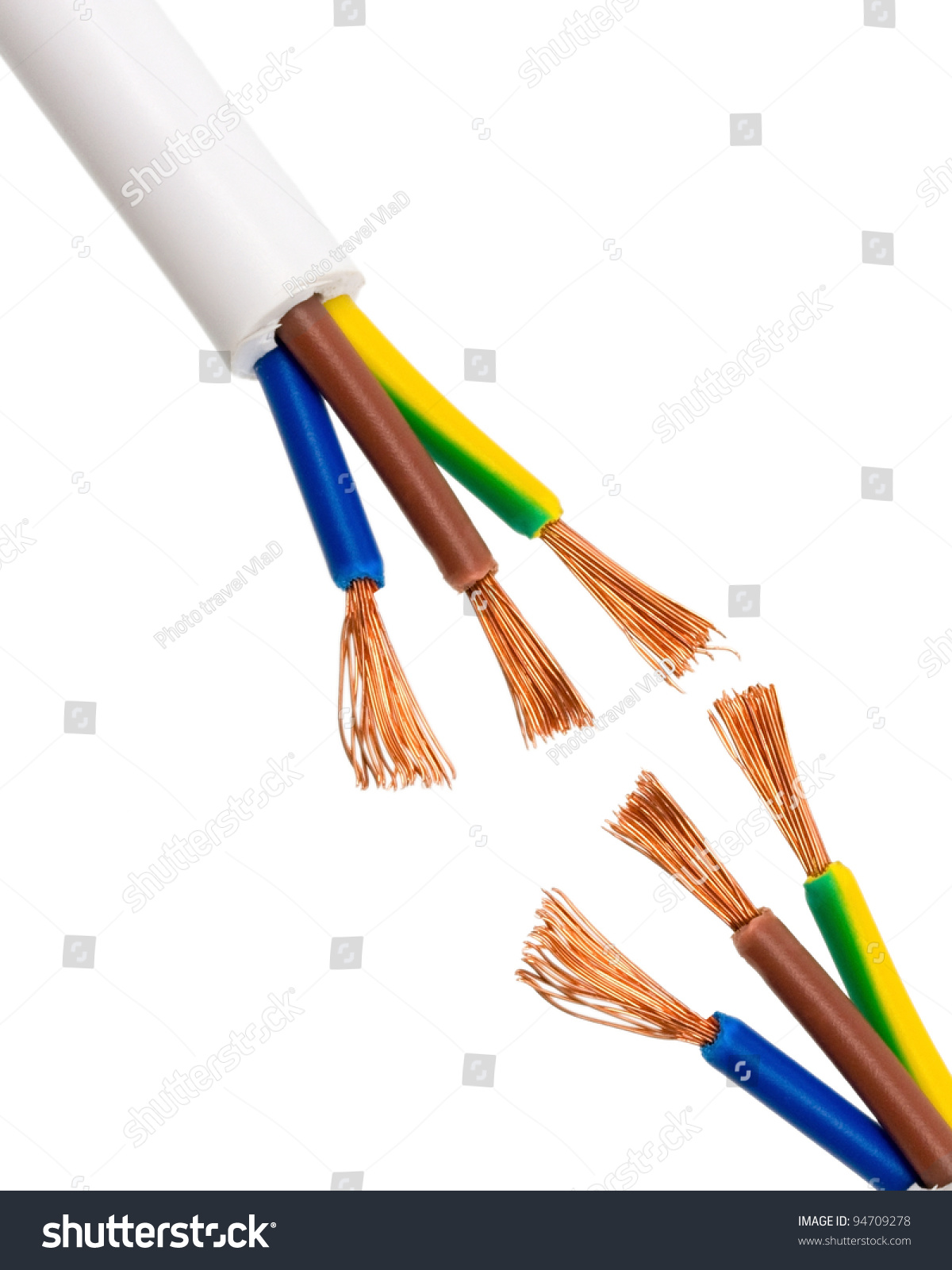Electric Cable Isolated On White Background Stock Photo 94709278 ...