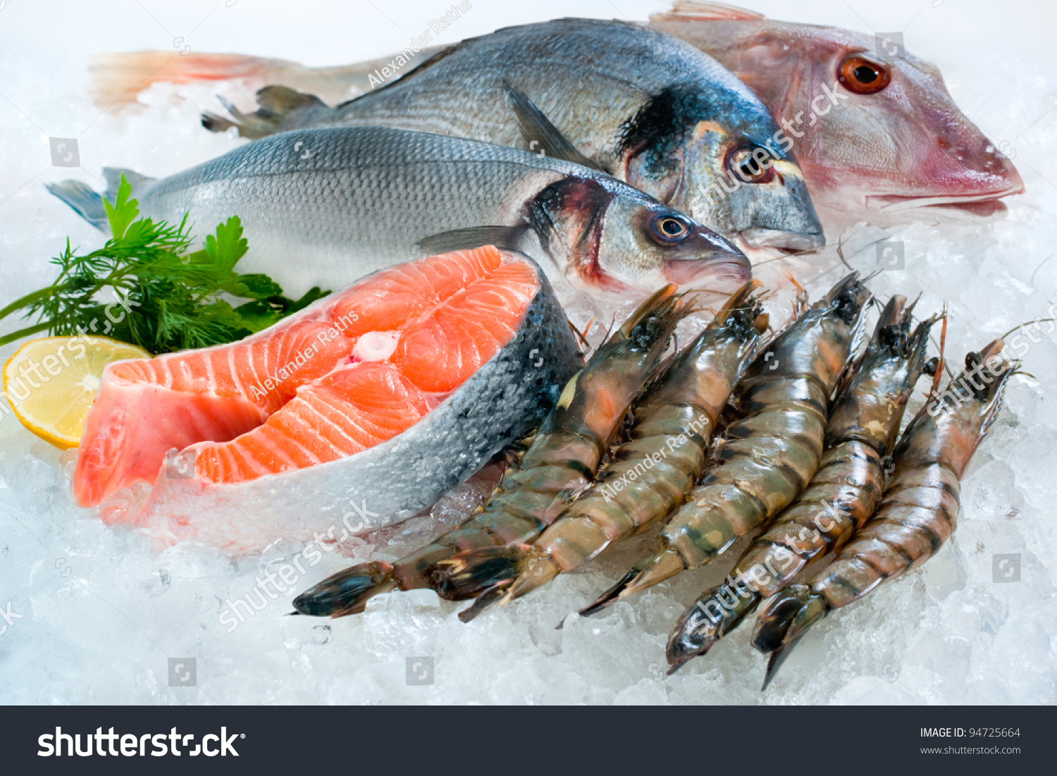 Seafood on ice fish market stock photo 94725664 shutterstock for Fish as food