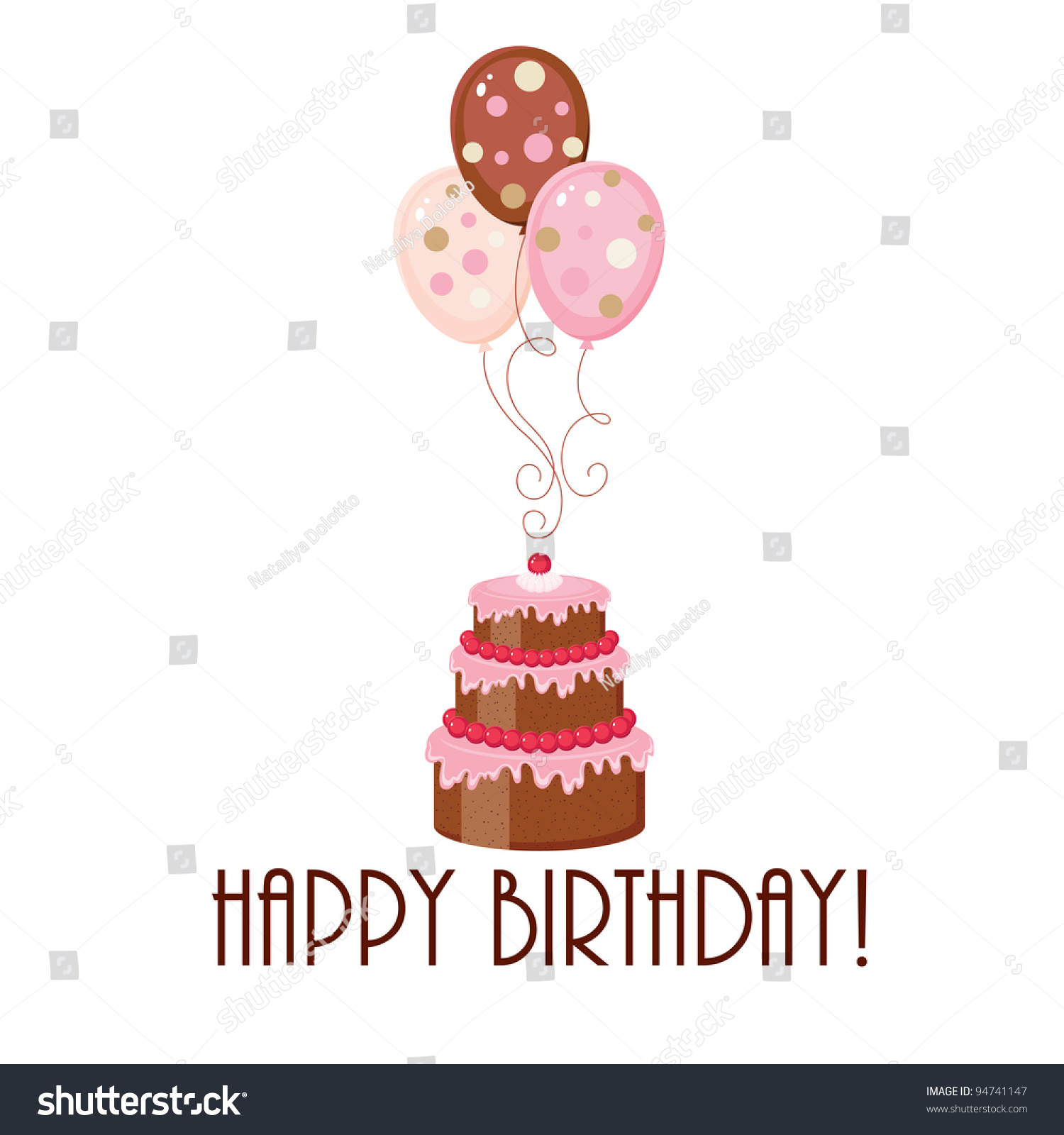 Birthday Cake And Balloons With Text Stock Vector