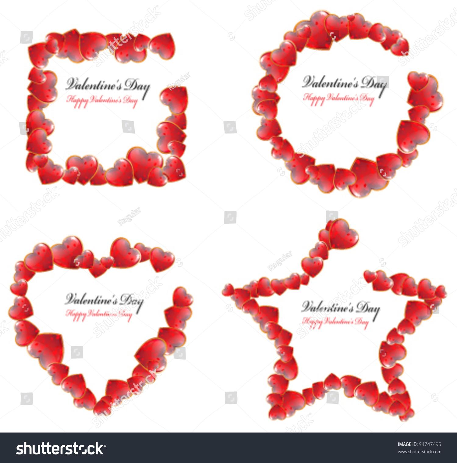 set of valentines day frames in the shape of a square circle heart and