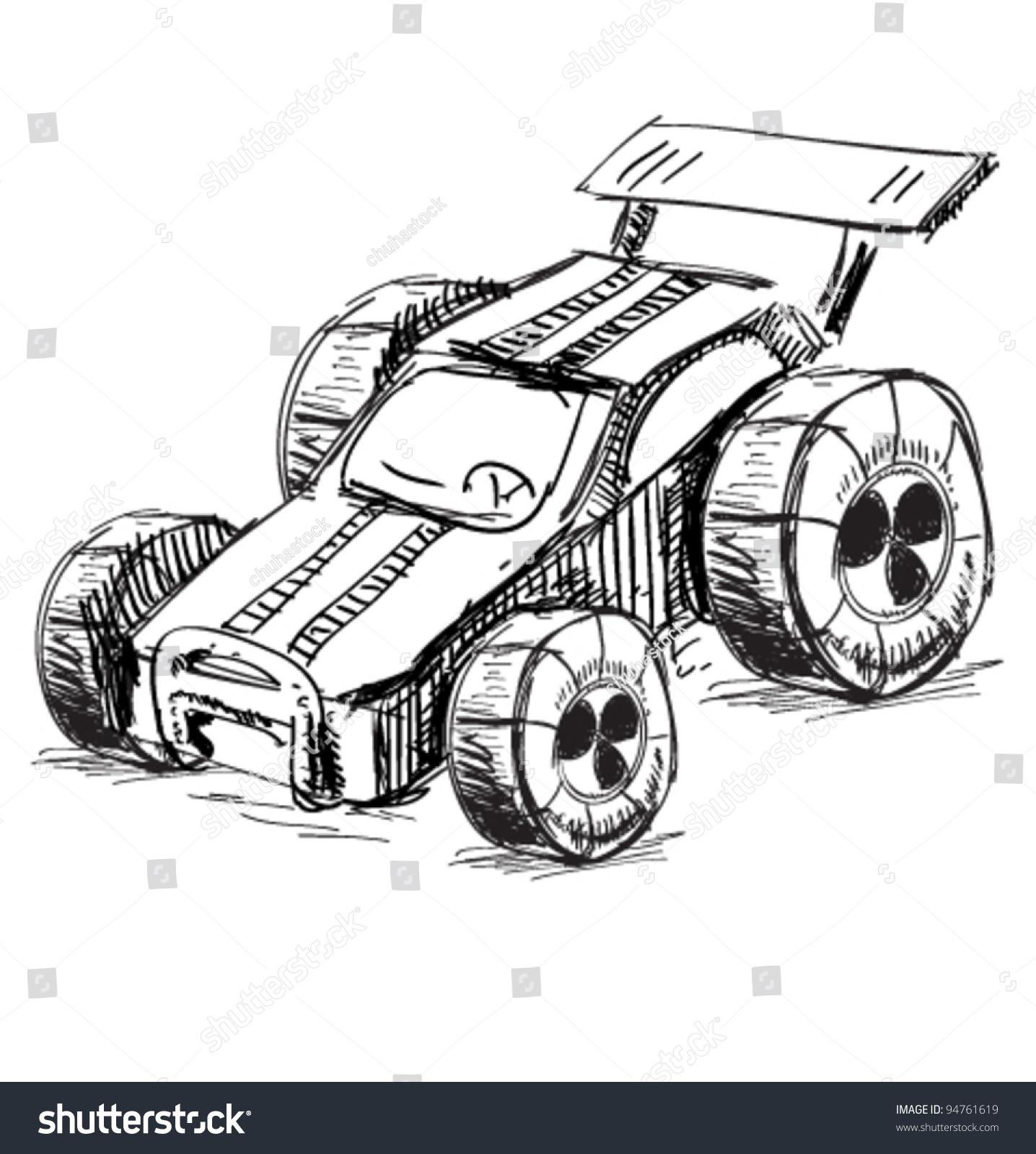 Race Car Sketch Vector Illustration Stock Vector 94761619 - Shutterstock