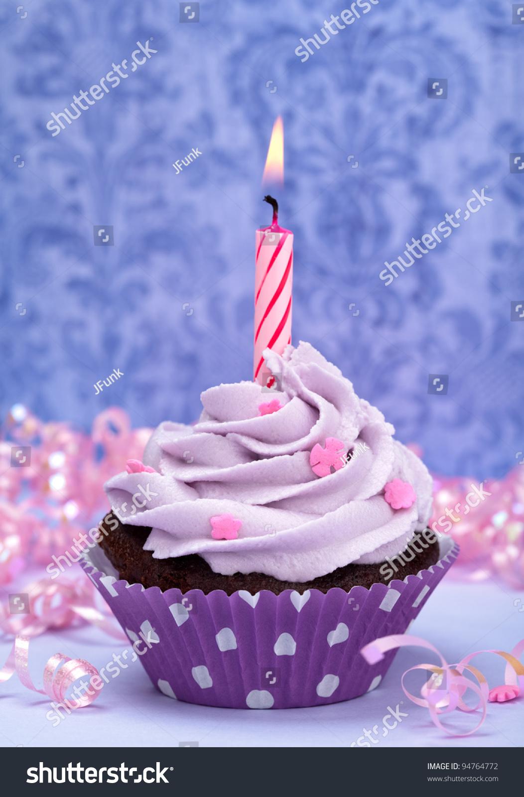 Purple Birthday Cupcake Stock Photo 94764772 Shutterstock