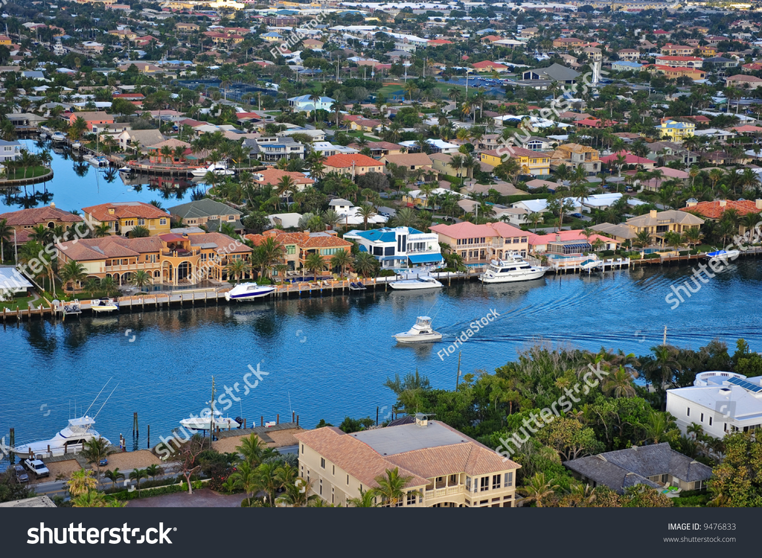 florida intracoastal waterway homes leisure boats stock