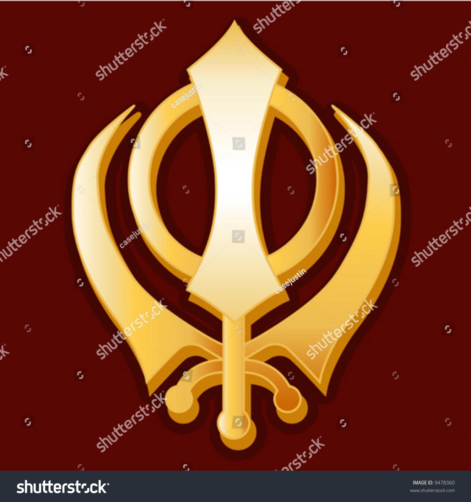 Vector Sikh Symbol Golden Khanda Symbol Stock Vector Royalty Free