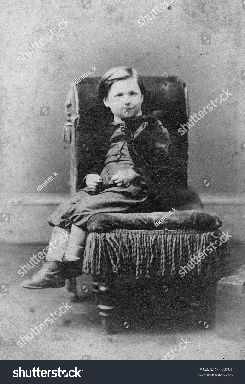 Black child sitting in chair - Portrait Of Boy On Chair Black And White Sourced From Antique Cabinet Card Vintage