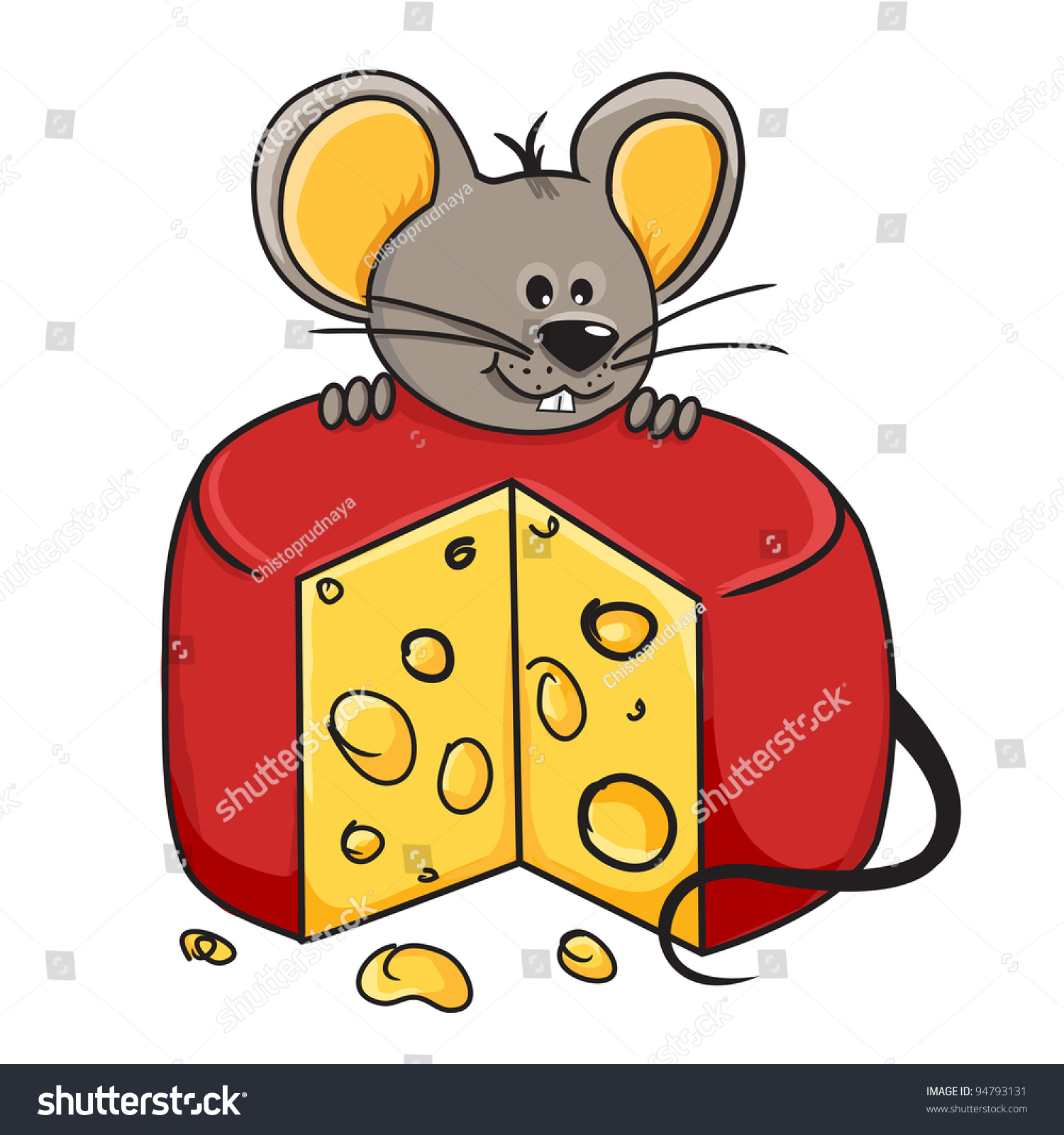 Cartoon Mouse Holding Wedge Cheese Stock Vector 94793131 ...