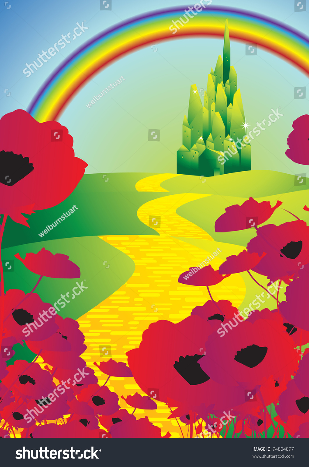 Emerald city and poppies and rainbow stock vector for Emerald city nickname