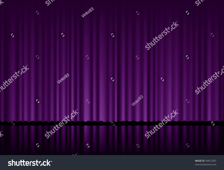 vector background purple velvet curtain stock vector