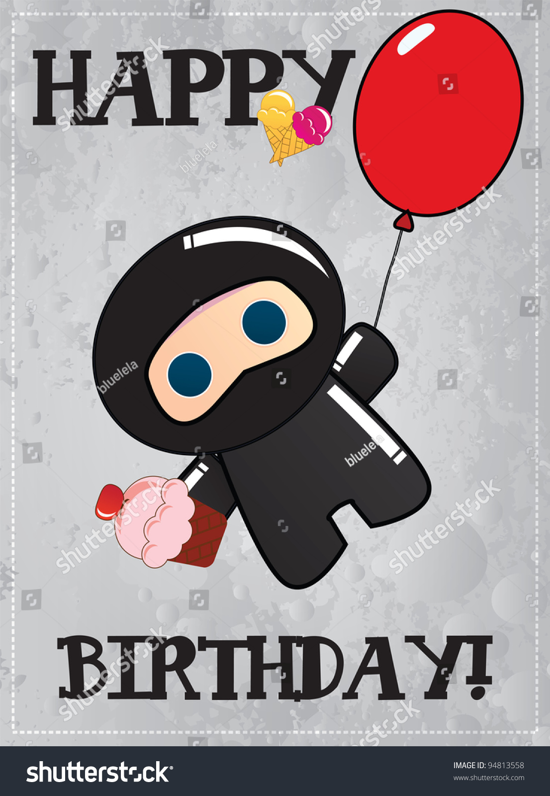Happy Birthday Card Cute Cartoon Ninja Stock Vector