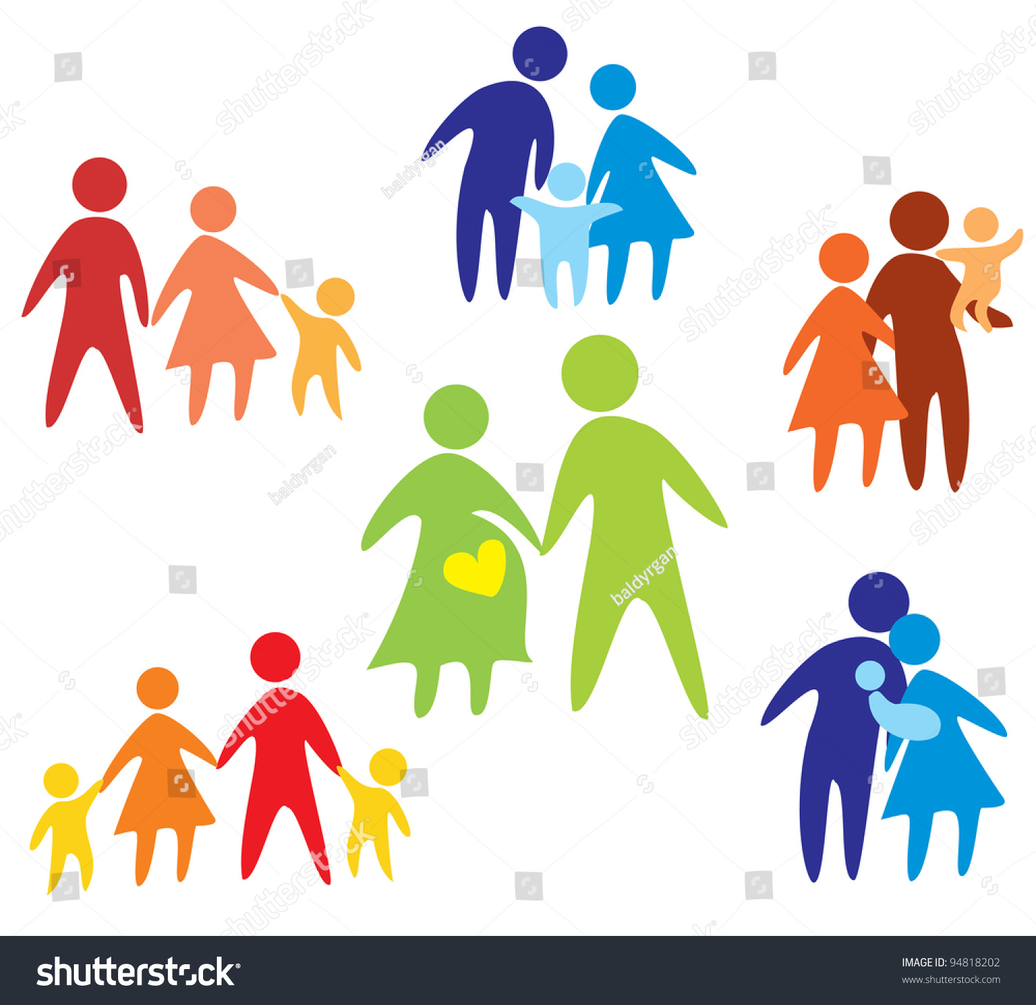 Stock Vector Happy Family Icons Collection Multicolored In Simple Figures on Insurance Card Clip Art