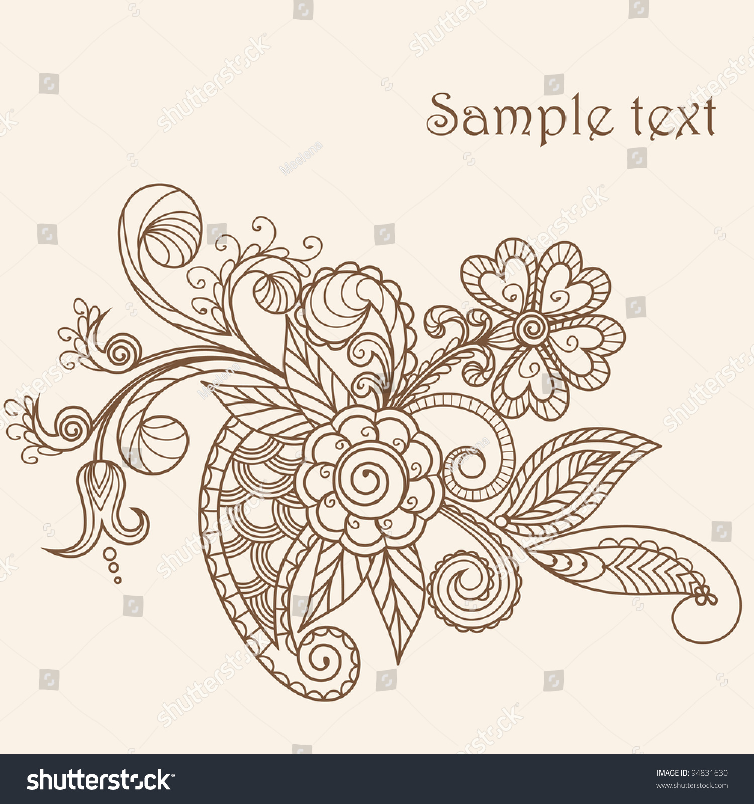 Mehndi Henna Hand Greeting Cards : Hand drawn abstract henna mehndi flowers and