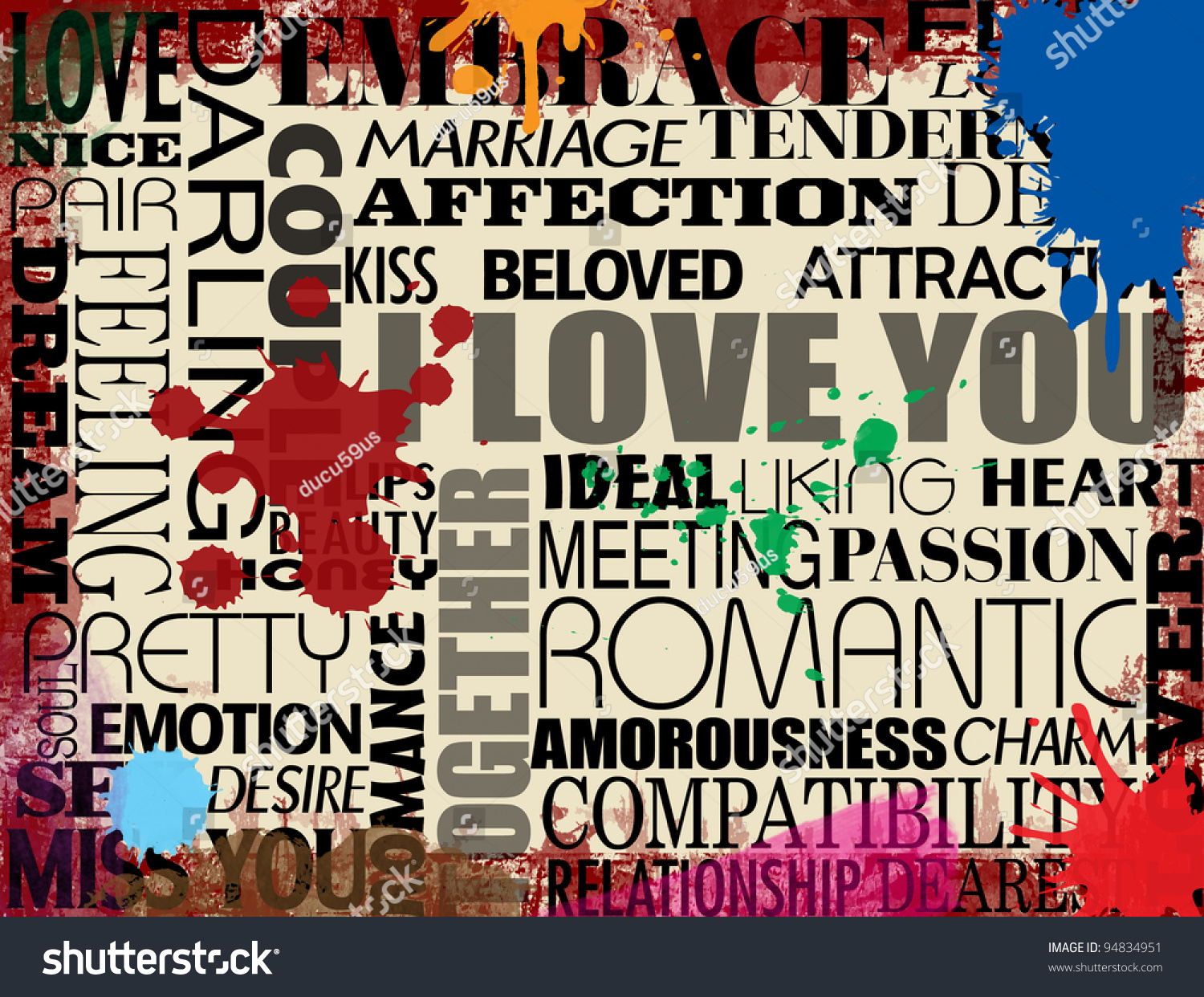 collage various love words on grunge stock vector royalty free