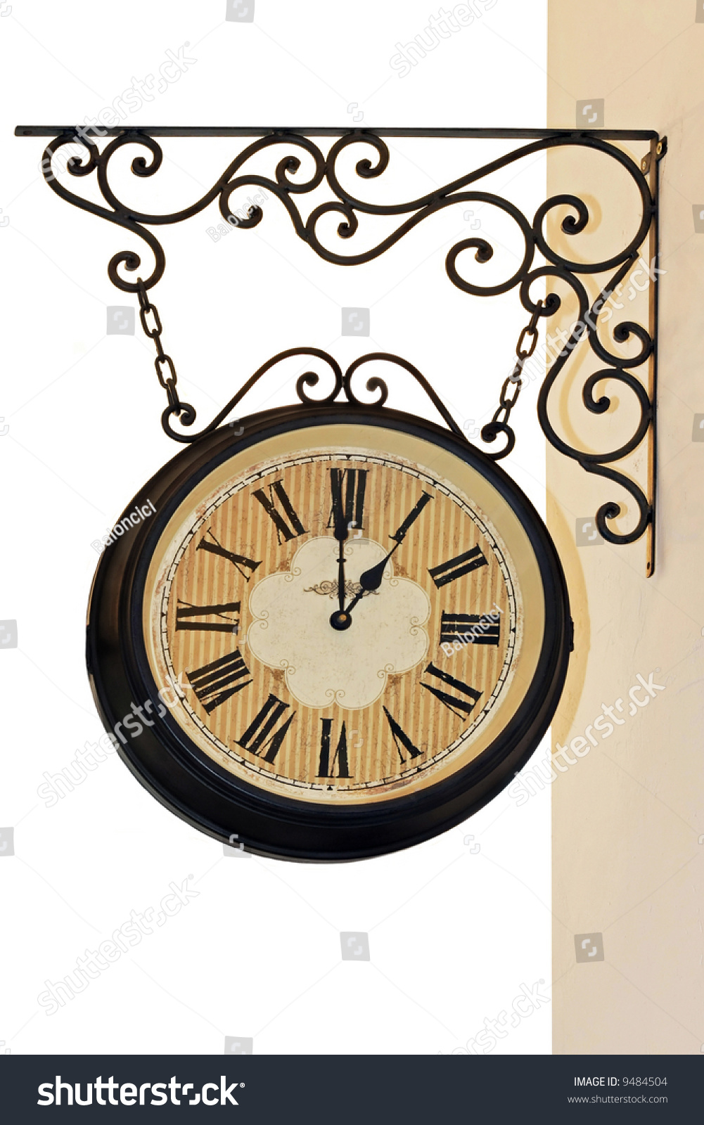 Old Style Hanging Clock Iron Work Stock Photo 9484504