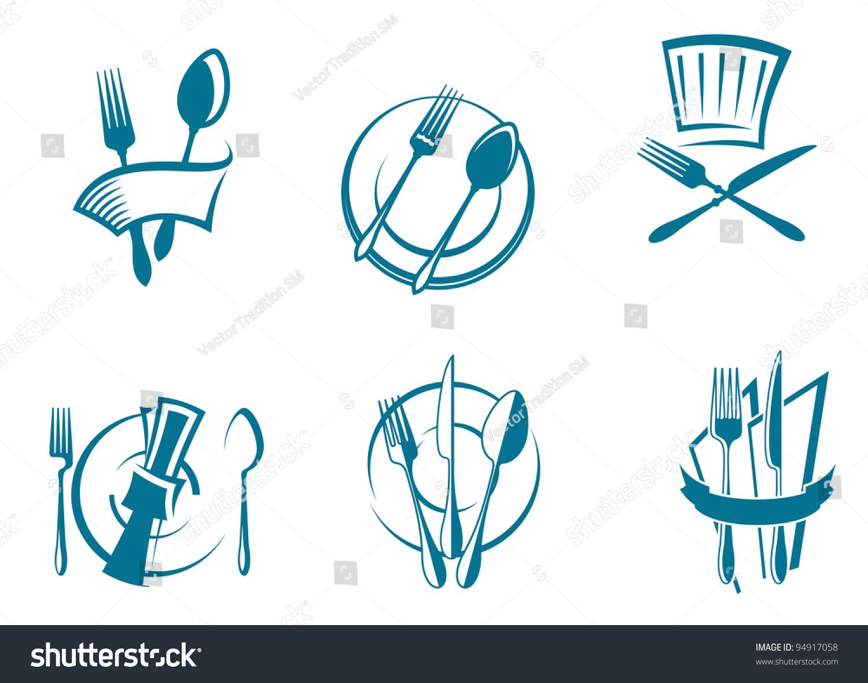 Restaurant menu icons symbols set food stock vector