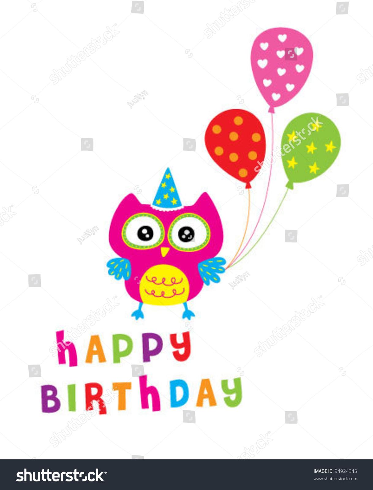 happy owl birthday party invitation card stock vector, Birthday invitations