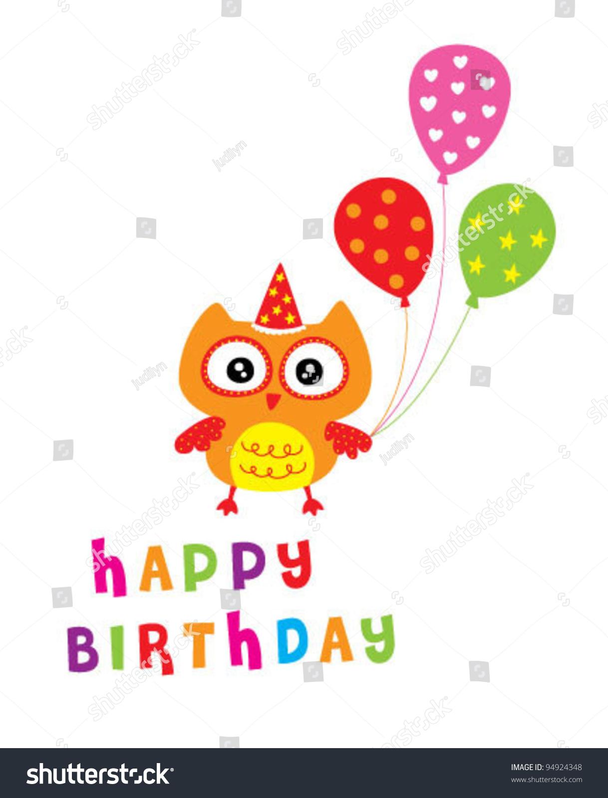 Happy Owl Birthday Party Invitation Card Stock Vector