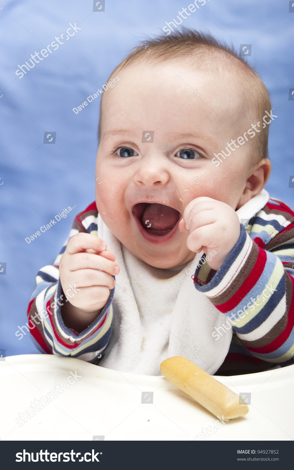 Very Excited, Messy 6 Month Old Boy Stock Photo 94927852 ...