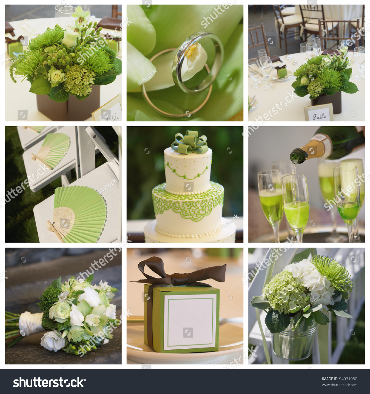 Collage Collection Of Green Wedding Details From Ceremony