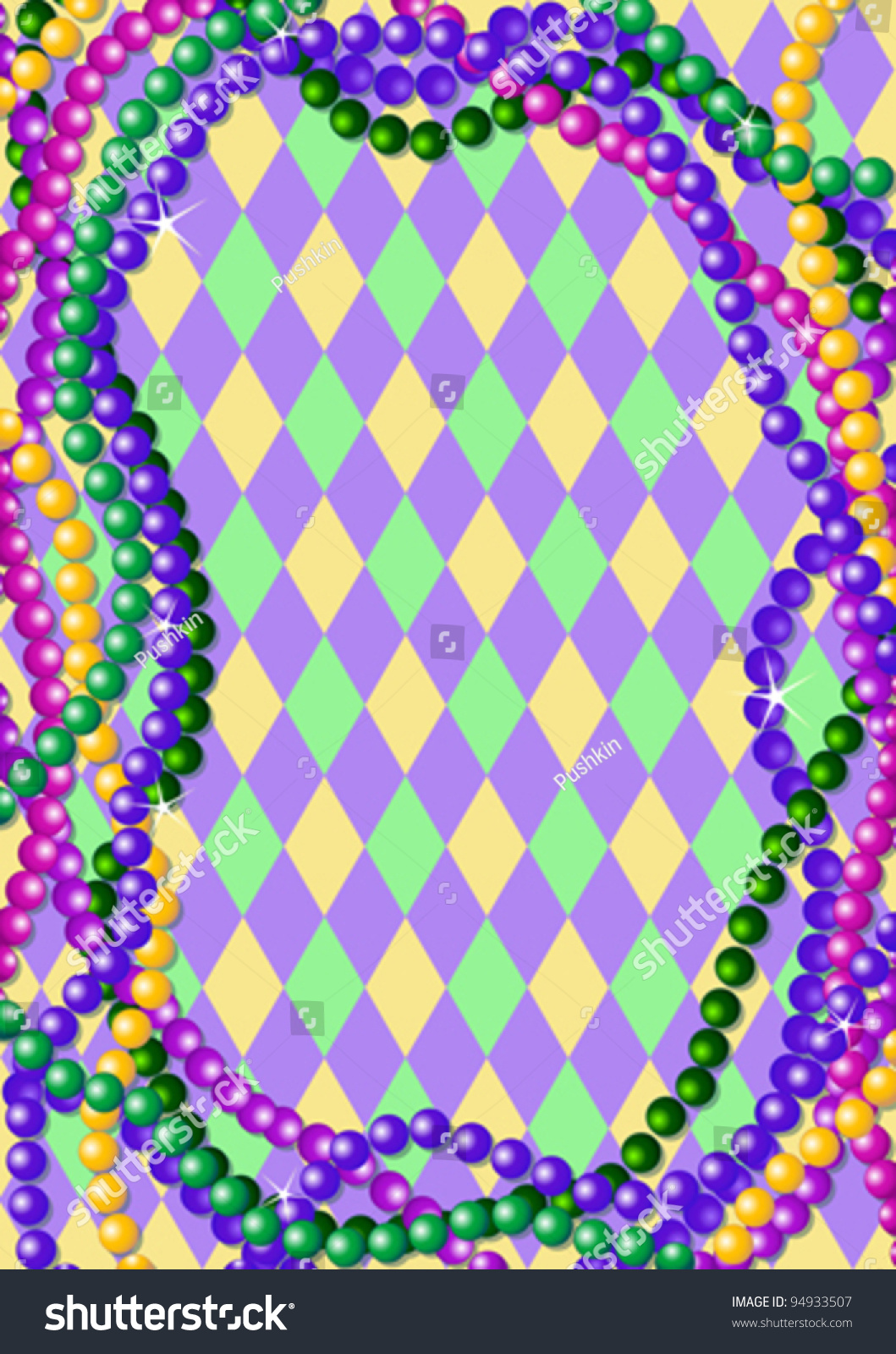 mardi gras beads background place text stock vector