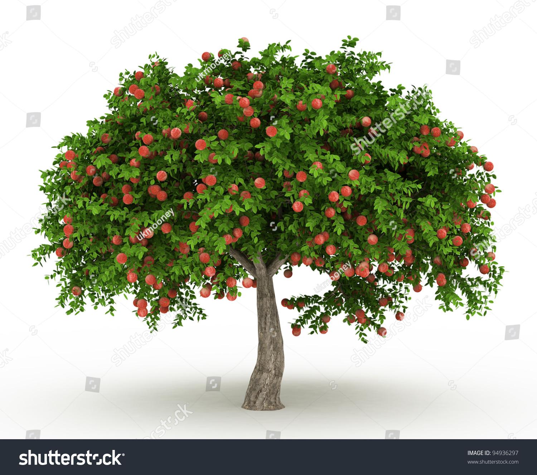 Green Apple Tree Full Red Apples Stock Illustration ...