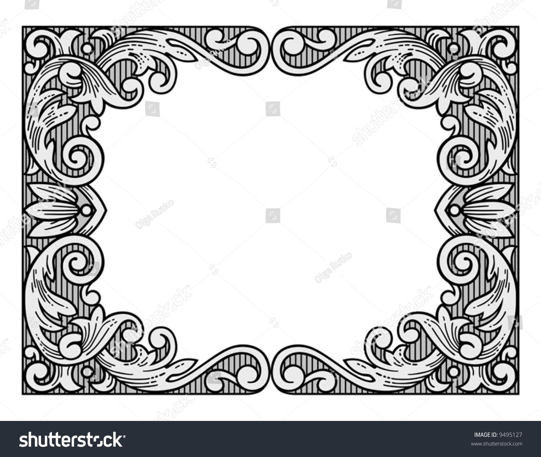 engraving frame vector