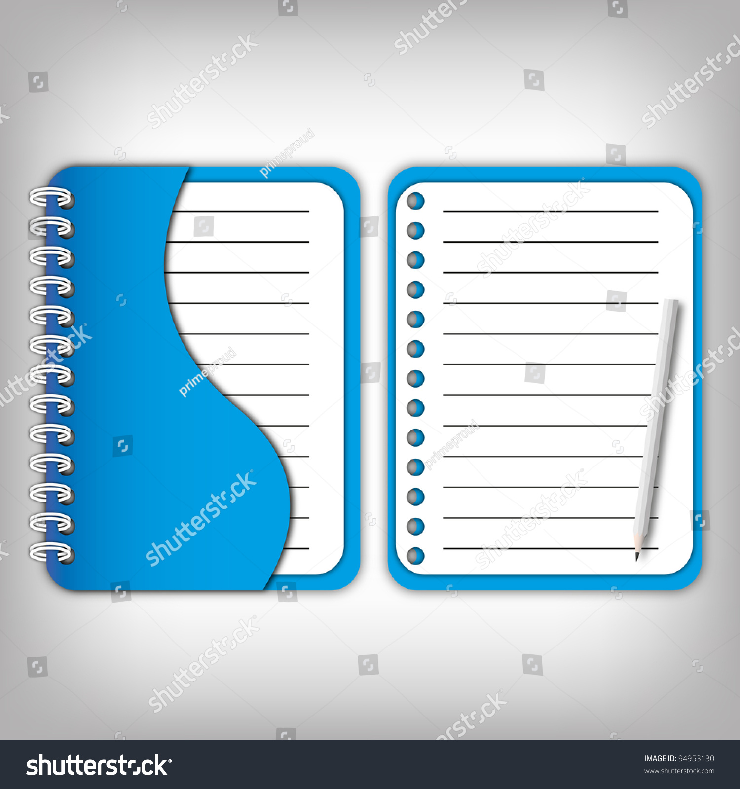 new design cover blue notebook and open page pencil stock save to a lightbox