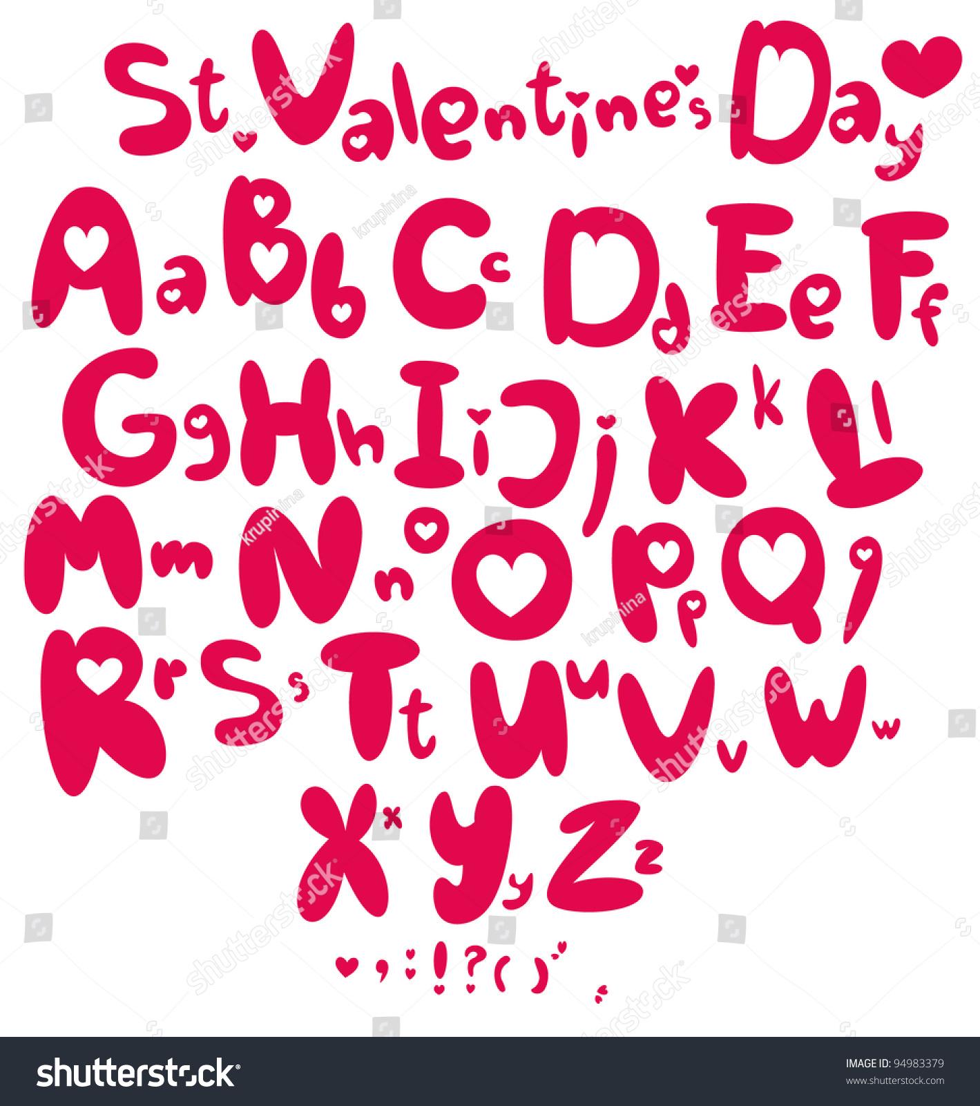 Saint Valentines Day Font My Big Stock Vector 94983379