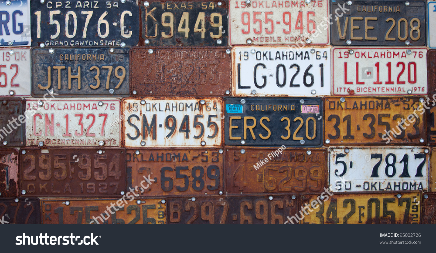 Group Vintage Old American License Plates Stock Photo 95002726 ...