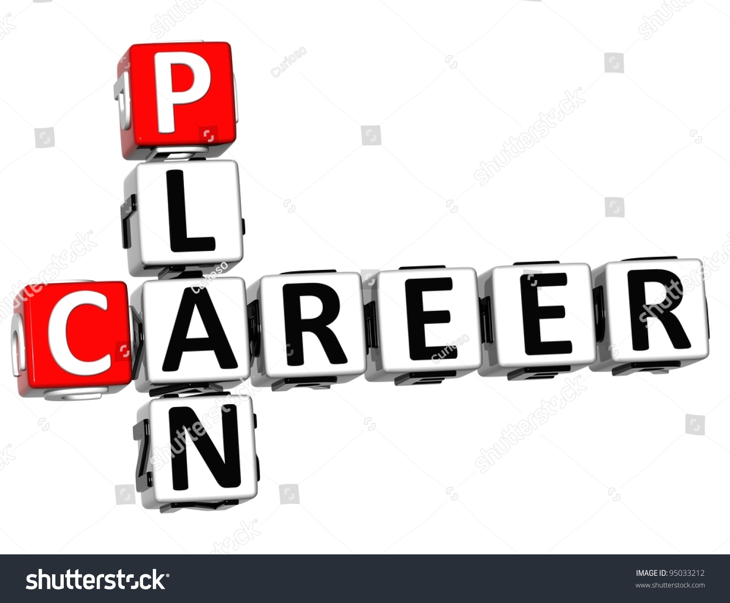 d plan career crossword on white stock illustration  3d plan career crossword on white background