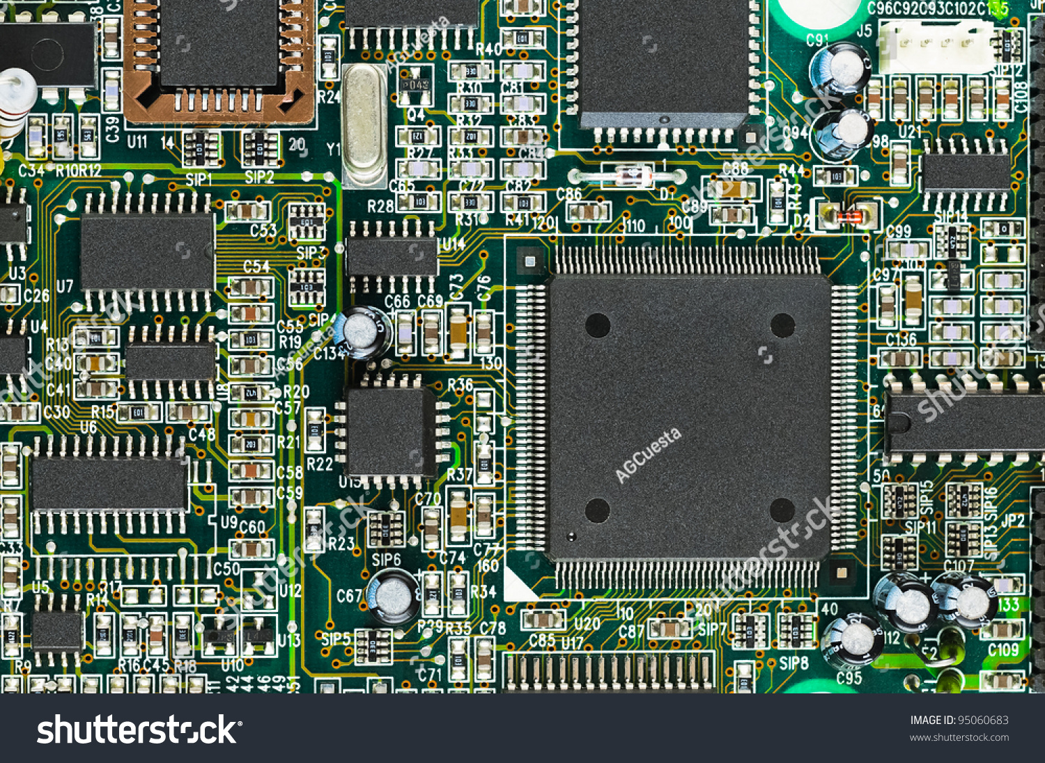 Circuit Board With Electronic Components Stock Image Auto Photos 19113403 Closeup Of Pcb Cpu Processor