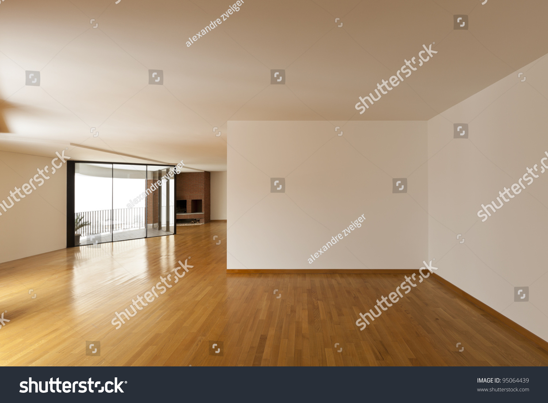 Beautiful apartment interior big empty room stock photo for Beautiful flats interior