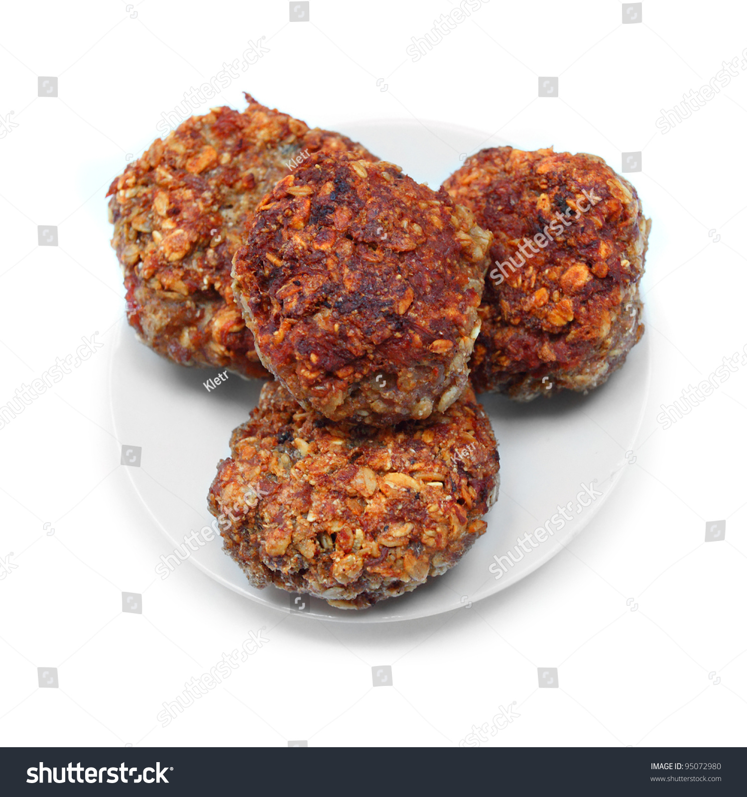 Three Grilled Beef Burgers On A Plate. Stock Photo 95072980 ...