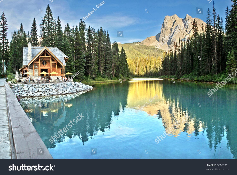 Emerald Lake And Tea House Near Field British Columbia Yoho National Park Canada Mount